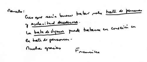 Pope Francis' handwritten note